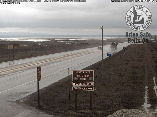 ITD web cam of stormy weather and Henrys Lake state park